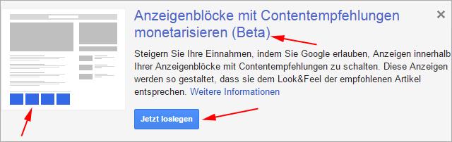 Adsense: Anzeigenblöcke mit Contentempfehlungen