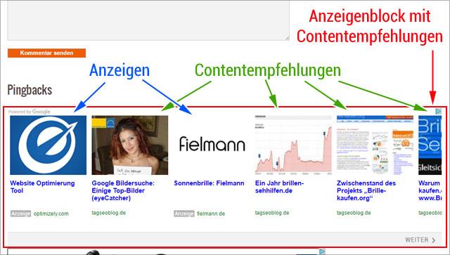 Anzeigen und Contentempfehlungen in einem - neues Adsense Bannerformat