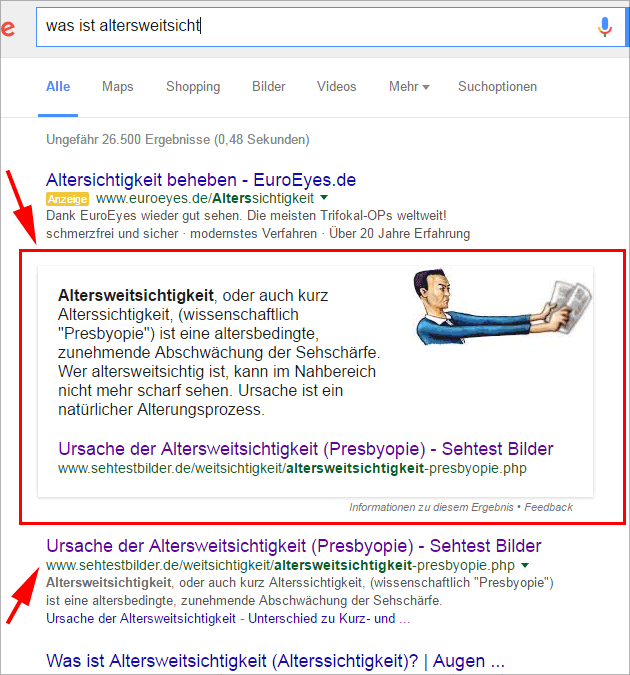 Google Answer-Box: Text und Bild von einer Domain (Screenshot April 2016)