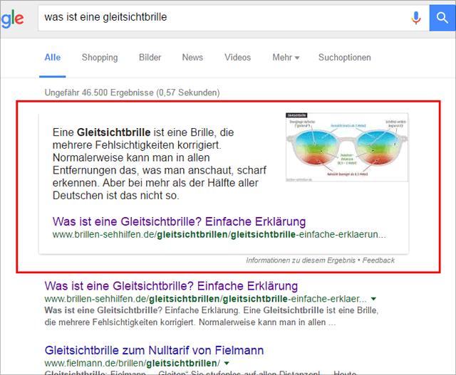 Google Featured Snippet: Beispiel Was ist eine Gleitsichtbrille?