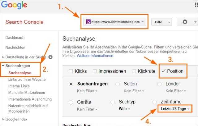 Suchanalyse in der Google-SearchConsole