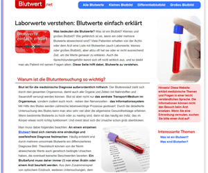 Blutwert.net (Homepage - Start-Design)