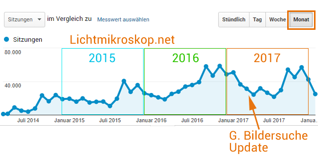 Website Lichtmikroskop.net - Traffic (Google Analytics)