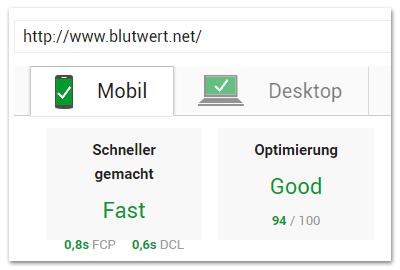 pageSpeed-Werte der mobilen Seite von Blutwert.net
