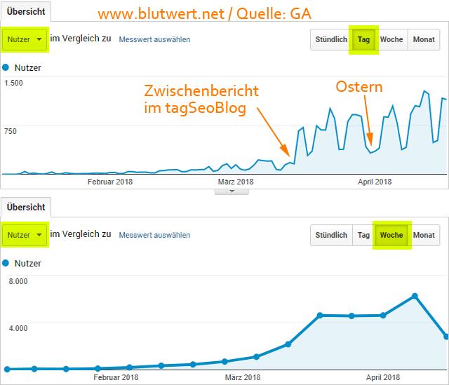 Besucherzahlen von Blutwert.net (Quelle: Google Analytics)