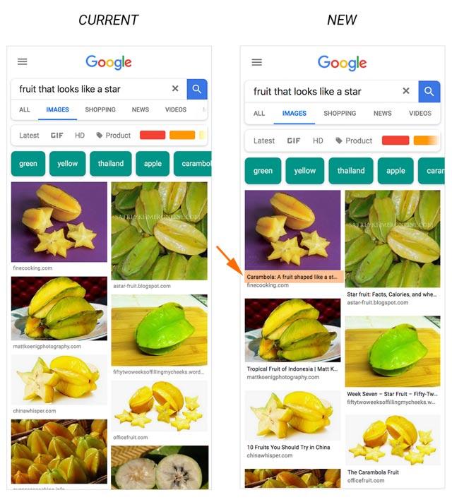 Google Bildersuche (mobil) nun mit Bildunterschirft (Seitentitel)