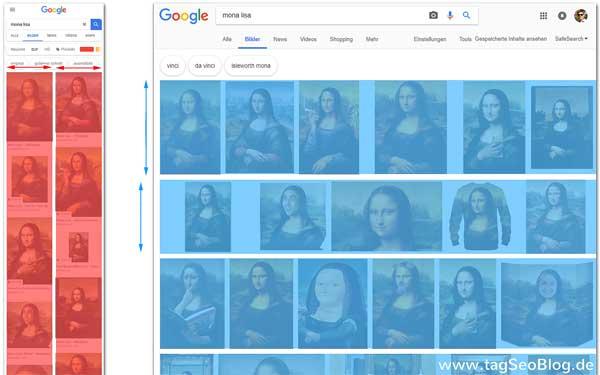 Google Bildersuche Layout: mobile=Spalten; Desktop=Zeilen