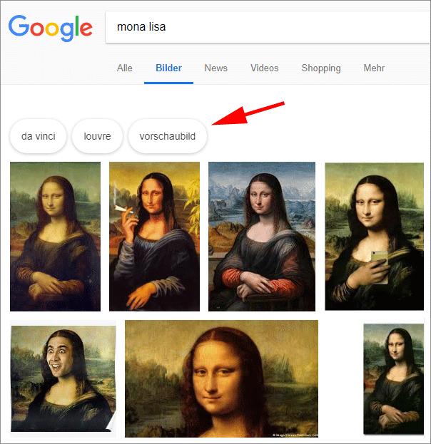 Google-Bildersuche: Neues Design der Suchvorschläge (oben)