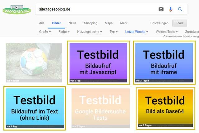 Google Bildersuche Test: welche Bilder werden indexiert? Siteabfrage nach 4 Tagen ...