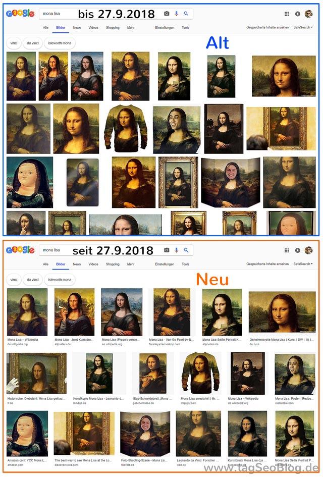Google Bildersuche Update vom 27.09.2018 - oben: alt, unten: neu