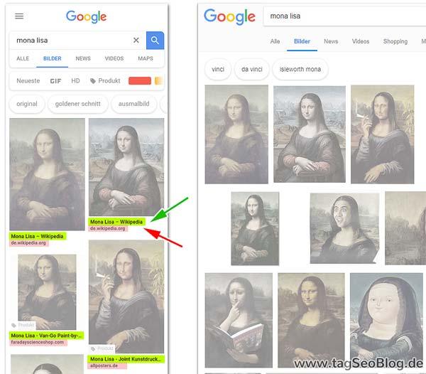 Die mobile Bildersuche von Google zeigt mehr Informationen: Seitentitel und Domain