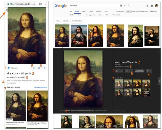 Darstellung des Großbildes in der Google Bildersuche. Links: Mobilgerät, rechts: Desktop