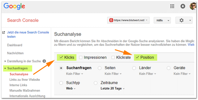 Google-SearchConsole Suchanalyse