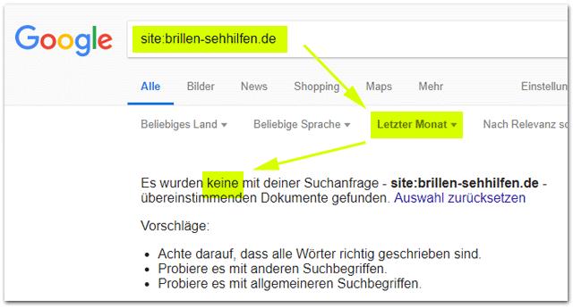 Google Site-Abfrage mit zeitlicher Einschränkung