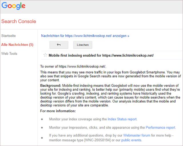 MobileFirst-Benachrichtigung (für Domains lichtmikroskop.net )
