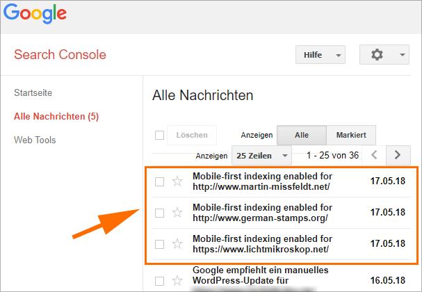 SearchConsole: Neue Nachrichten ...