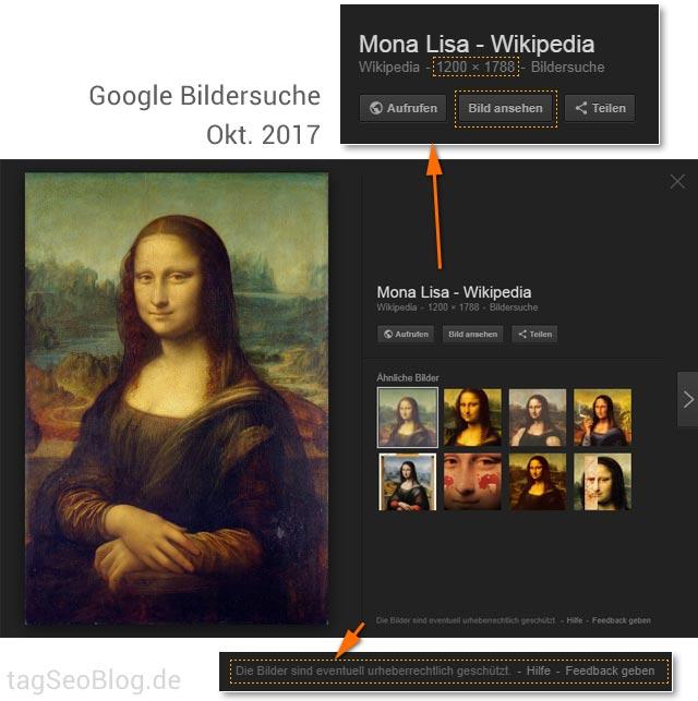 Google Bildersuche, Stand Oktober 2017