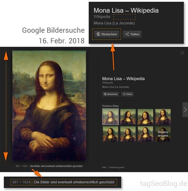 Google Bildersuche, Stand 16.2.2018: einige Veränderungen
