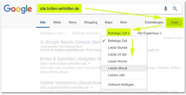 Zeitlich eingegrenzte Googlesuche