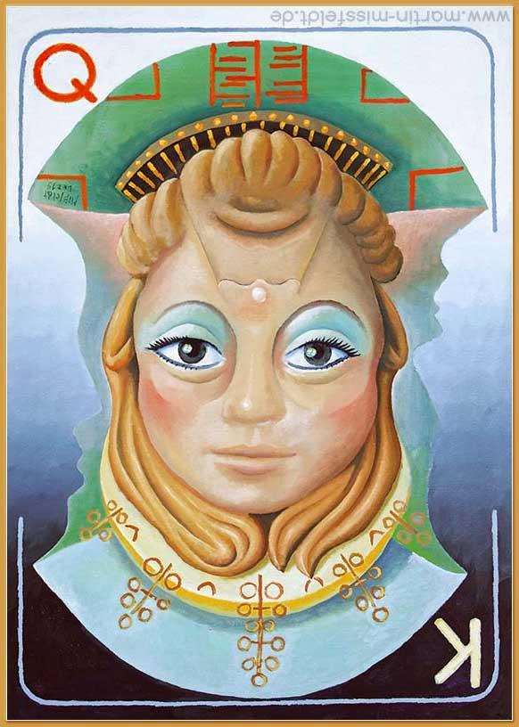 """Drehbild Dame König"" - Öl auf Leinwand, Dez. 2019, 100 x 70 cm."