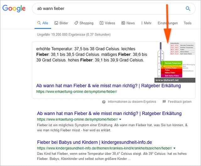 """Google Suchergebnisseite für """"ab wann fieber"""""""