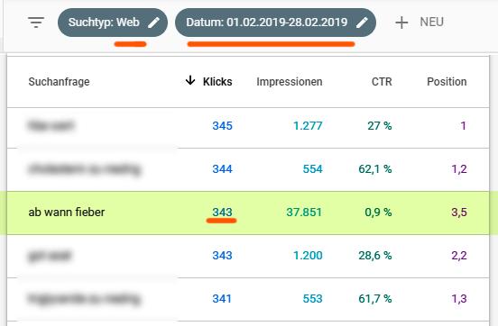 GSC, Suchtyp Web - Daten von Februar 2019 (vor dem Core-Update)