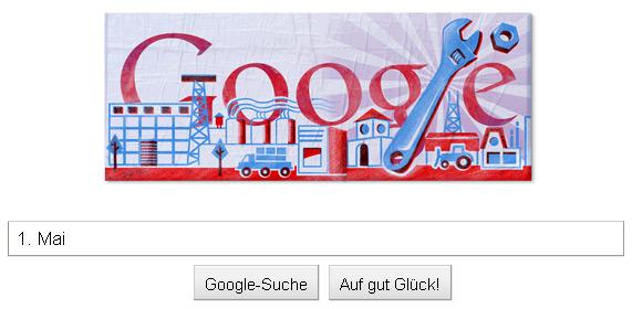 1. Mai Doodle: Tag der Arbeit als Druck in Rot und Blau