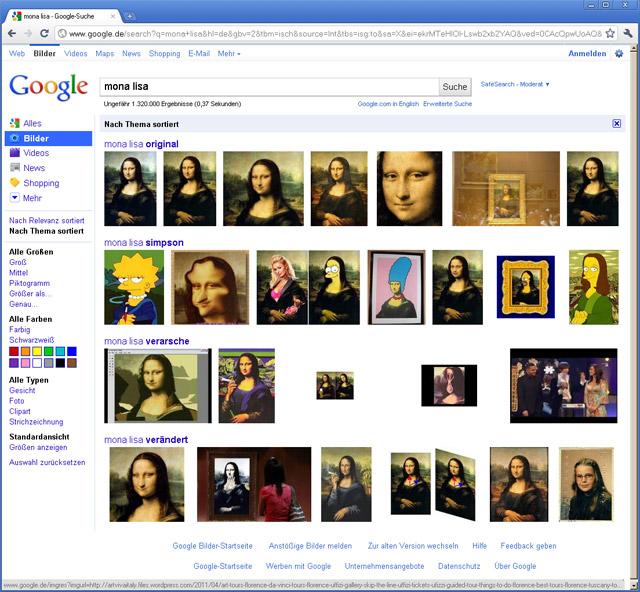 "Google Bildersuche nach Thema sortiert (""Mona Lisa"")"