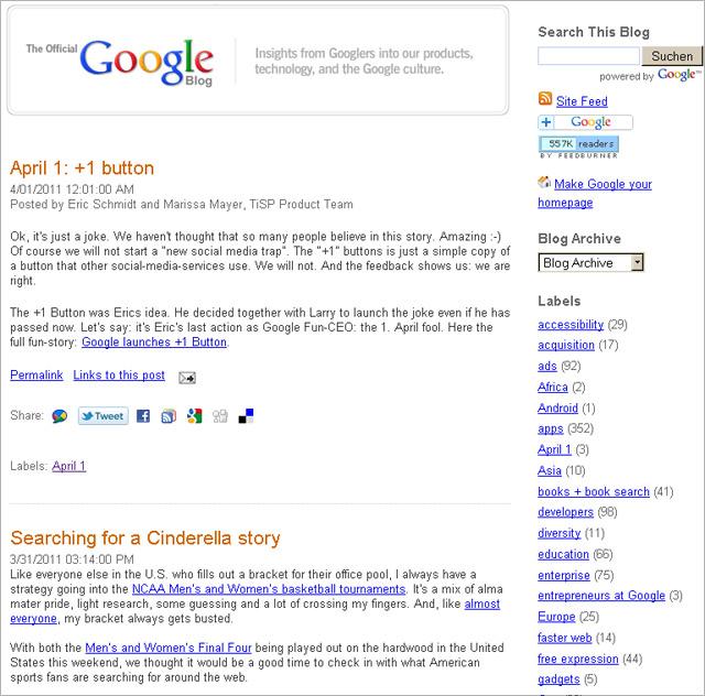 Google-Blog: +1? It  just a joke!