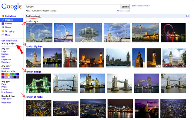 "Google images: neues Feature ""Bilder sortieren"" (Screen aus dem Googleblog)"