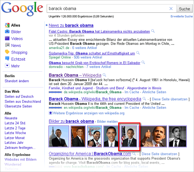 Google-Suche nach Barack Obama