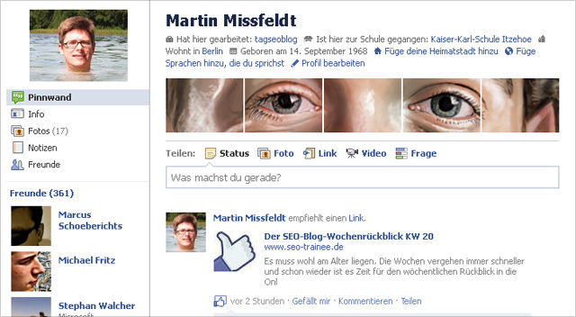 Meine Profilseite bei facebook - Zuckerberg is watching you!