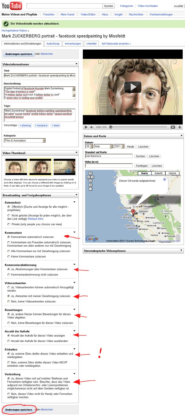Videodetails bearbeiten - Änderung bei den Default-Einstellungen von youTube