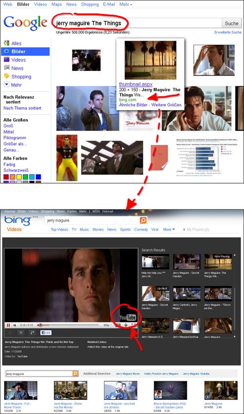 Bing benutzt Thumbnails, um über die Google Bildersuche Besucher zu erhalten