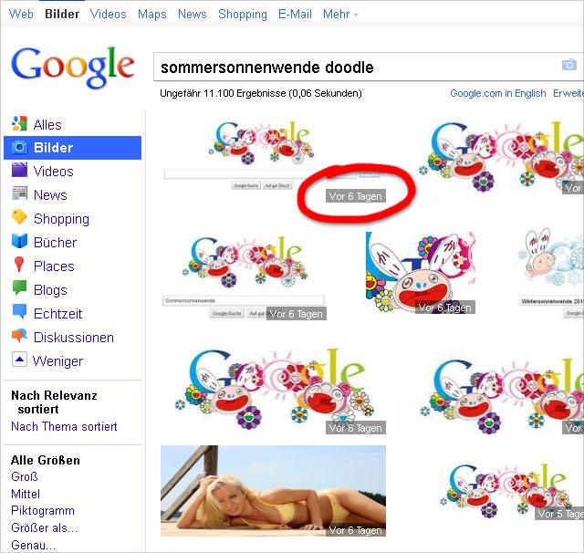 Google-Bildersuche zeigt Alter des Bildes an