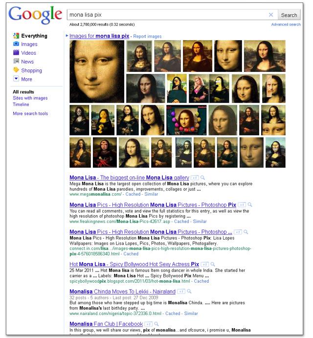 "Google Universal-search images: Beispiel ""Mona Lisa pix"""