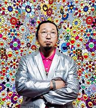 Murakami vor Blümchenbild