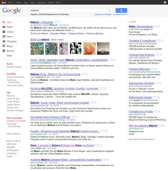 Neue Google Ergebnisseite: alles in Grau und Rot