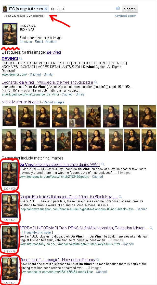 Search by Image: Organische Suchergebnisseite mit Thumbnails (Beispiel: Mona Lisa)