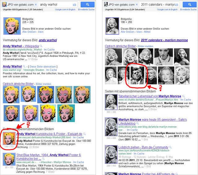 Google Bilder-mit-Bildern-Suche: Marilyn Monroe 2