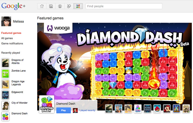 Google+ Games Screen