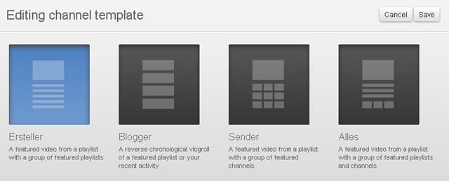 youTube-Channel-Design: Auswahlmöglichkeit zwischen vier templates