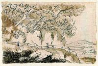 """Lavierte Federzeichnung von Goethe: """"Solfatara von Pozzuoli"""""""