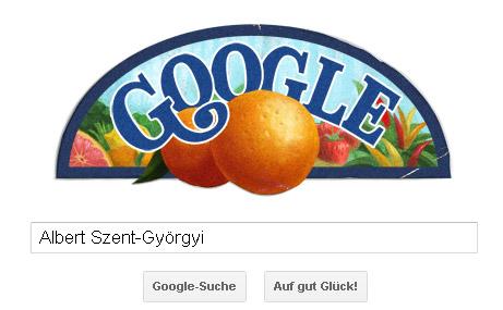 Albert Szent Györgyi Google Doodle - fruchtiger Obstkisten-Aufkleber :-)