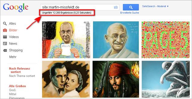 Anzahl der Ergebnisse in der Google Bildersuche fast immer viel zu hoch...