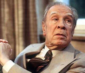 Borges with walking stick