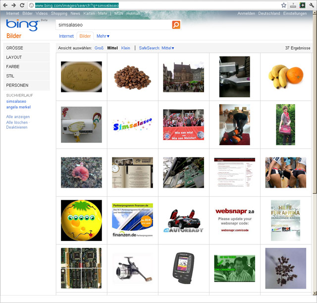 Seo Contest Simsalaseo: Bing-Bildersuche - Stand 22.08.2011