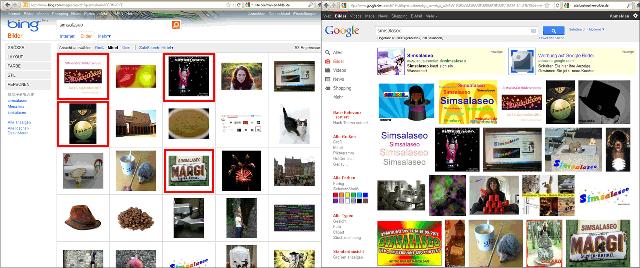 Bing Bildersuche und Google Bildersuche im direkten Vergleich