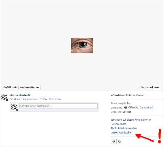 Wie kann man ein Bild bei facebook löschen?