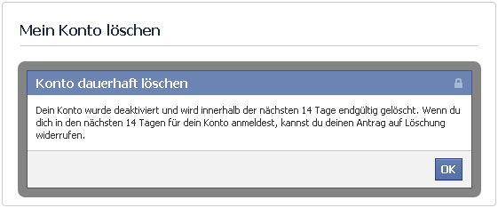 Facebook  Account gelöscht, aber...
